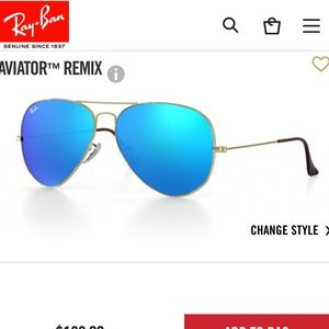 Blue mirrored Aviator Ray-Bans with gold trim